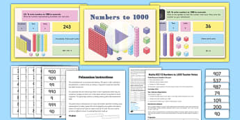 Year 3 Numbers to 1000 Lesson 1 Teaching Pack - numeracy, maths