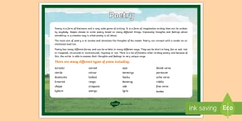 Poetry A4 Display Poster-Australia - Literacy, Interpreting, analysing, evaluating, english, poetry, writing, poems, poetry,  glossary, p