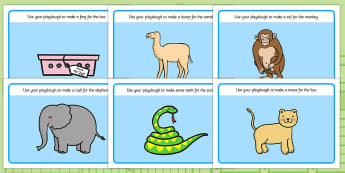 Playdough Mats to Support Teaching on Dear Zoo - Dear Zoo, Rod Campbell story, zoo, zoo animals, adjectives, descriptive words, lion, monkey, puppy, giraffe, story book, story book resources, story sequencing, story resources, zoo, animals, playdough