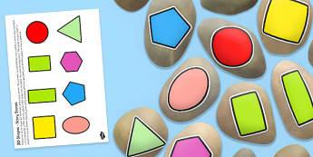 2D Shapes Story Stone Image Cut Outs - stones, shapes, 2d, ssm, ks1, y1, reception, nursery, fs1, fs2, shape names, maths