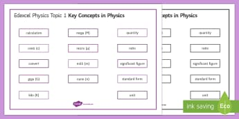 Edexcel Physics Key Concepts in Physics Word Mat - Word Mat, edexcel, gcse, physics, key concepts, units, equation, calculate