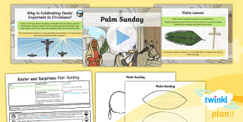 PlanIt - RE Year 1 - Easter and Surprises Lesson 1: Palm Sunday Lesson Pack - RE, religious education, easter, surprises, christianity, judaism, jesus, palm sunday, planning
