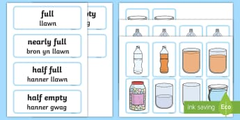 Capacity Matching Cards English/Welsh - capacity, capacity welsh, bilingual resources, numeracy welsh, numeracy, measuring, measure welsh, w