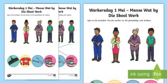 Suid-Afrika Werkersdag 1 Mei Mense Mense Wat by Die Skool Werk Activity Sheet - South Africa Worker's Day 1st May, school, skool, match, pas bymekaar,  aktiwiteit, Werkersdag