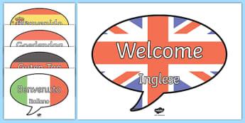 Benvenuto in lingue diverse nelle nuvolette Poster - lingue, linguaggio, benvenuto, straniere, welcome, italiano, italian, poster, materiale, scolastico