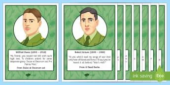 Poets of the First World War Display Posters - GCSE Poetry, Wilfred Owen, Siegfried Sassoon, Robert Graves, Rupert Brookes, John McCrae, Isaac Rose