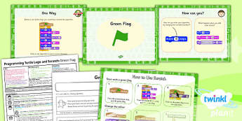 PlanIt - Computing Year 2 - Programming Turtle Logo and Scratch Lesson 5: Green Flag Lesson Pack