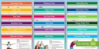 KS2 Yoga Poses Activity Pack - Priority Yoga, poses, wellbeing, chill out, relax, mountain, chair, pose, tree, rainbow, elephant, s