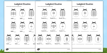 Doubles to 20 Ladybird Activity Sheet Mixed Up - doubles, 20, ladybird, activity, sheet, mixed, up, worksheet