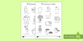 Hojas de colorear: El Comercio Justo - Fairtrade, comercio justo, colorear, colorea, colores, pintar, comercio, vocabulario,Spanish