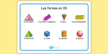 Les formes en 3D - french, Word mat, writing aid, 3D Shape names, Shape Flashcards, Shape Pictures, Shape Words, 3D flashcards