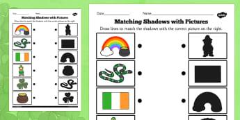 St Patricks Day Shadow Matching Worksheet - match, worksheet