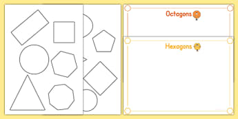 2D Shape Cut and Stick Sorting Activity - 2D Shape, shapes, stick, 2D shape, circle, hexagon, octagon, oval, pentagon, square, triangle, rectangle