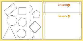 2D Shape Cut and Stick Sorting Activity - 2D Shape, shapes, stick