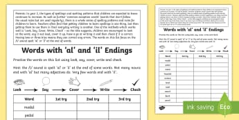 Year 2 Spelling Practice Homework /l/ spelled 'al' and 'il' Activity Sheet  - ks1, English, year 2, practice, home learning, home work, homework, Worksheet, practise, SPaG, spell