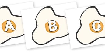 A-Z Alphabet on Fried Eggs - A-Z, A4, display, Alphabet frieze, Display letters, Letter posters, A-Z letters, Alphabet flashcards