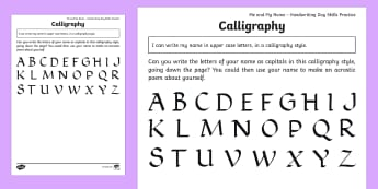 KS1 Me and My Name Calligraphy Name Activity Sheets - KS1, Me and My Name, handwriting, practise, writing, letters, formation, upper case, capitals, alpha