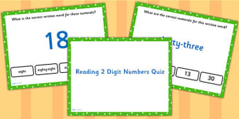 Reading 2 Digit Numbers PowerPoint Quiz - numeracy, maths, quiz