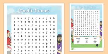 GAA Word Search English - gaa, history, ireland, word search, irish, gaeilge