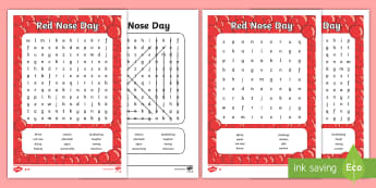 Red Nose Day Word Search - red nose day, comic relief, word search,