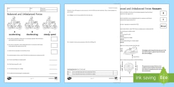 Balanced and Unbalanced Forces Homework Activity Sheet - Homework, forces, balanced, unbalanced, steady speed, direction, speed, worksheet