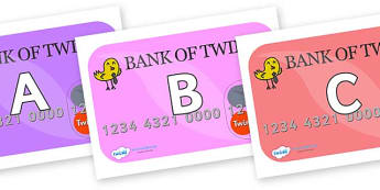 A-Z Alphabet on Debit Cards - A-Z, A4, display, Alphabet frieze, Display letters, Letter posters, A-Z letters, Alphabet flashcards