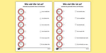 Telling the Time in German Activity Sheet, worksheet