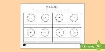 My School Day Activity Sheet - time, clocks, activity sheet, recognition, worksheet