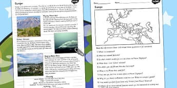 Europe Natural Features Reading Differentiated Comprehension Activity - geography