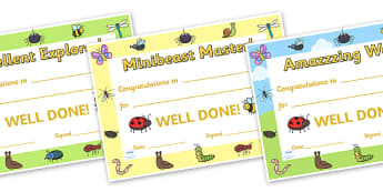 Minibeasts Explorer Reward Certificates - minibeast certificates, minibeast hunt certificates, minibeast reward certificates, award cerficates, minibeasts