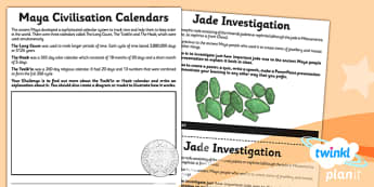 PlanIt - History UKS2 - The Maya Civilisation Unit Home Learning Tasks