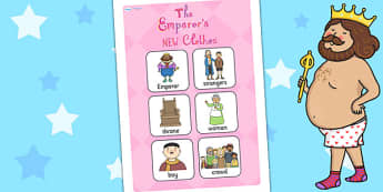 The Emperor's New Clothes Vocabulary Poster - story books, display