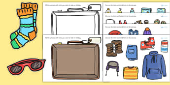 Pack a Suitcase Cut and Stick Activity - suitcase, cut and stick