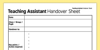 Teaching Assistant Handover Sheet - teaching assistant, handover, sheet, assistant