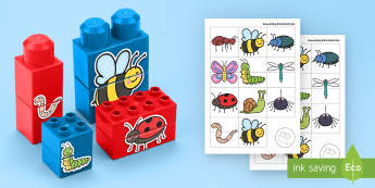 Minibeasts Matching Connecting Bricks Game - EYFS, Early Years, KS1, Connecting Bricks Resources, duplo, lego, plastic bricks, building bricks, m