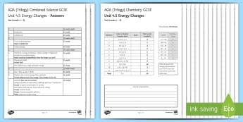 AQA Chemistry Unit 4.5 Energy Changes Test - KS4 Assessment, Test, chemistry, exothermic, endothermic, energy, energy change, break bond, make bo