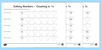 Iceberg Counting In Ones Activity Sheet Pack Activity Sheet - Year 1 Maths Mastery, Counting, place value, digits, ones, units, tens, forwards, backwards, twos, f