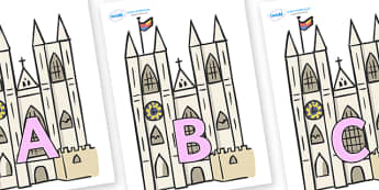 A-Z Alphabet on Churches - A-Z, A4, display, Alphabet frieze, Display letters, Letter posters, A-Z letters, Alphabet flashcards