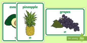 Posters d'affichage : Les fruits et légumes - Anglais LV