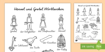 Hänsel und Gretel Wortlexikon Arbeitsblatt - Hänsel und Gretel, Märchen, Wortschatz, Wortlexikon, German