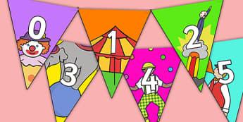 Circus themed 0 31 Bunting - circus themed, circus bunting, 0-31 on bunting, numberline bunting, circus numberline bunting, bunting
