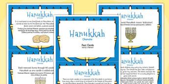 Hanukkah Display Fact Cards Polish Translation - Polish, Judaism, Jewish Festival, menora, light, information, facts,