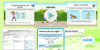 PlanIt Y3 Language Conventions: Adverbs with  ly Lesson Pack-Australia - Language Conventions, Australia, Spelling, Grammar, activity sheets, lesson plan, PowerPoint, displa
