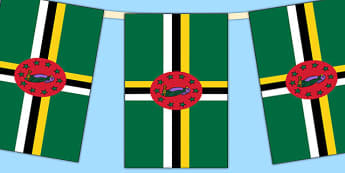 Dominica Flag Display Bunting - countries, geography, flags