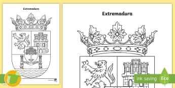 Hoja de colorear: El escudo de Extremadura  - Mapas, provinicias, mapas mudos, mapas en blanco, las ciudades de españa, comarcas, concejos, comun