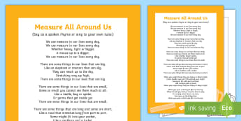 Measure All Around Us Song - measure, EYFS, object, measurement, measurements, length, weight, height, capacity, short, shorter,