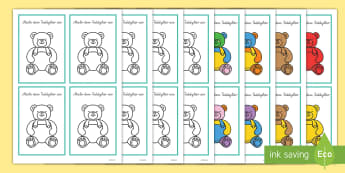 Beschreiben und Anmalen Teddybär Spiel - Beschreiben und Anmalen Teddybär Spiel, Beschreiben und Anmalen, Bilder beschreiben, Bilder anmalen