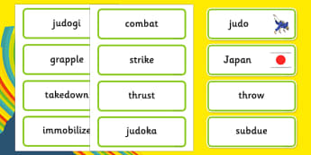 Rio 2016 Olympics Judo Word Cards - Judo, Olympics, Olympic Games, sports, Olympic, London, 2012, word card, flashcards, cards, activity, Olympic torch, events, flag, countries, medal, Olympic Rings, mascots, flame, compete