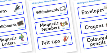 Snowflake Themed Editable Writing Area Resource Labels - Themed writing resource labels, literacy area labels, writing area resources, Label template, Resource Label, Name Labels, Editable Labels, Drawer Labels, KS1 Labels, Foundation Labels, Foundat