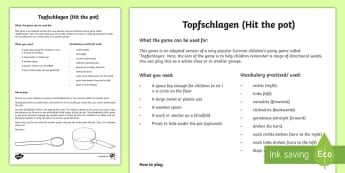 Following Directions Party Game German - Directions, German, MFL, Games, Languages, Topfschlagen, Party Games